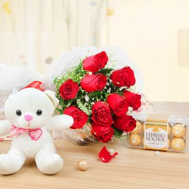 "12 Roses with a cute 6"" Teddy and 16 Ferrero Rochers"